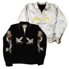 VINTAGE スカジャン 1950S Japan ブラック/シルバー size L (Souvenir Jacket 海外直輸入USED品) 【あす楽対応】【あす楽_土曜営業】【古着】【海外直輸入USED品】