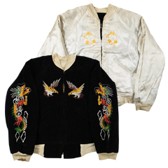 VINTAGE スカジャン 1950S Okinawa ブラック/シルバー size -(S) (Souvenir Jacket) 【あす楽対応】【あす楽_土曜営業】【古着】【海外直輸入USED品】