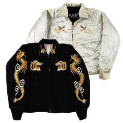 VINTAGE スカジャン 1950S Okinawa ブラック/シルバー size S (Souvenir Jacket) 【あす楽対応】【あす楽_土曜営業】【古着】【海外直輸入USED品】