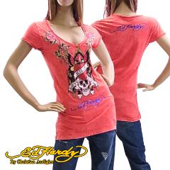 エド ハーディー ウーマン SS プラチナム Tシャツ チュニック ラブ キルス スローリー ピンク (WOMAN SS PLATINUM TEE LOVE KILLS SLOWLY ED HARDY EDHARDY エドハーディー) 【あす楽対応】【あす楽_土曜営業】