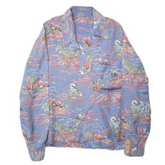 VINTAGE 50's レーヨンアロハシャツ 長袖ハワイアン柄 Hawaiian Shirt 【あす楽対応】【あす楽_土曜営業】【古着】【海外直輸入USED品】