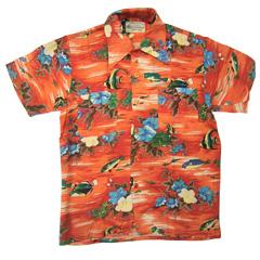 VINTAGE Kmart Hawaiian style (60's~70's) ビンテージアロハシャツ フラワー&フィッシュ柄 size S 【あす楽対応】【あす楽_土曜営業】【古着】【海外直輸入USED品】