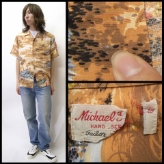 VINTAGE Michael Yerald (60's) Hawaiian vintage Aloha t-shirt size L