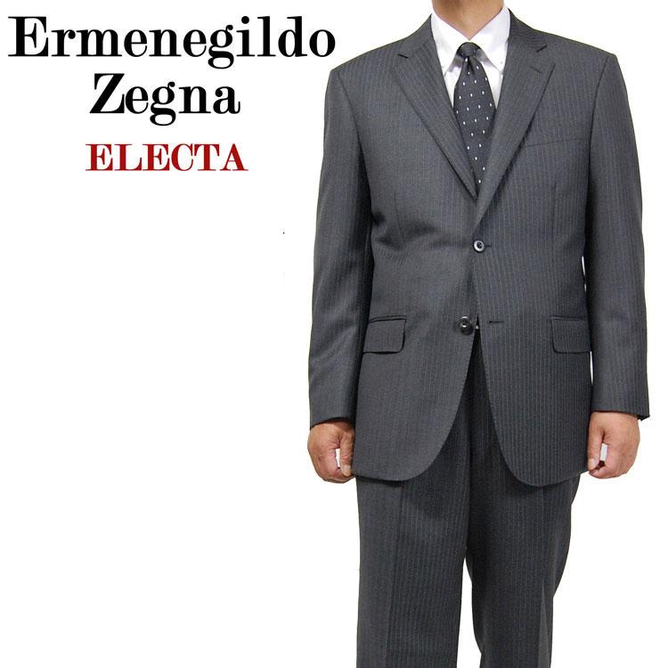 送料無料 スーツ 2B シングルスーツ 秋冬ゼニア エルメネジルド・ゼニア Ermenegildo Zegna エレクター/ ELECTA シングル 2Bスーツ上下セット ワンタック グレーストライプ 188205 AB5 AB6 AB7 BB5 BB6 BB7