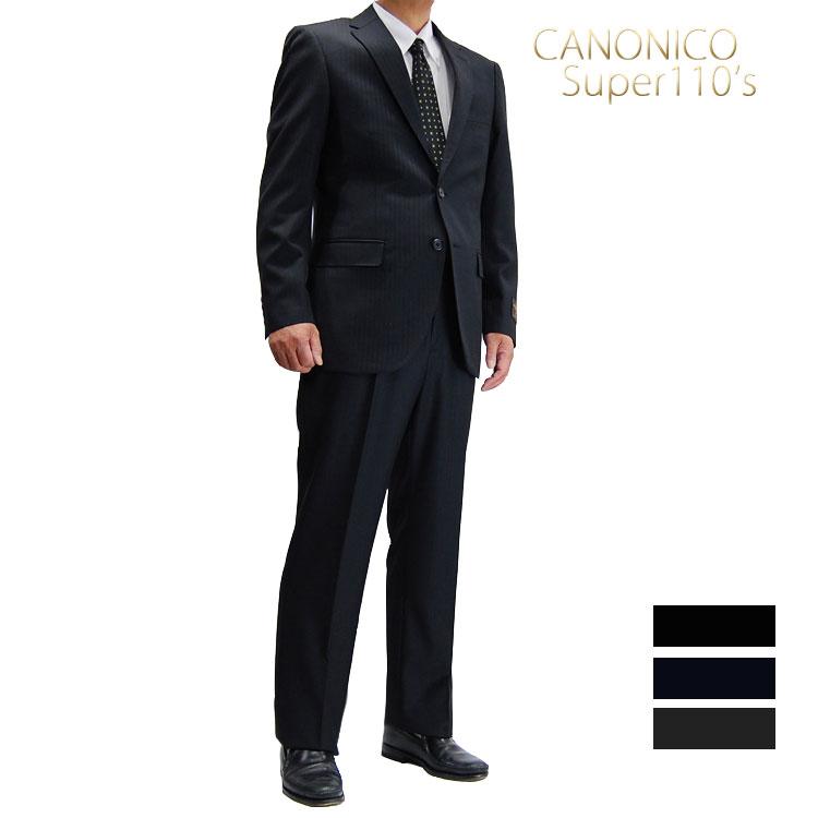 送料無料 秋冬物 CANONINO(カノニコ)Super 110′s少々細身シングルスーツ メンズ セットアップシングル スーツ 2ボタン 28162210 28162220 28162230 A5 A6 AB5 AB6 AB7 BB5 BB6 BB8 黒 濃紺 グレーヘリンボン柄 上下セット
