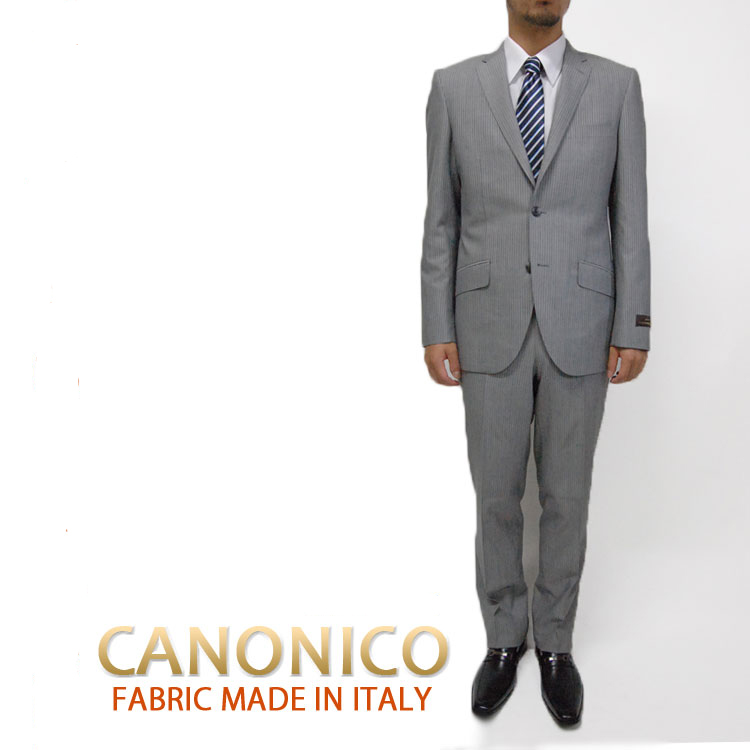シングル スーツ メンズ 紳士 2ボタンスーツ 春夏 スーツCANONICOカノニコ上下セット143211【送料無料】 ライトグレー