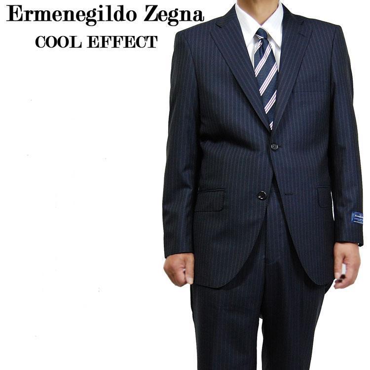 【送料無料】春夏ゼニア Ermenegildo Zegna(エルメネジルド・ゼニア) COOL EFFECT(クールエフェクト)14000-13 シングル 2ボタン 紺ストライプシングル2BスーツAB4・AB5・AB6・AB7上下セット