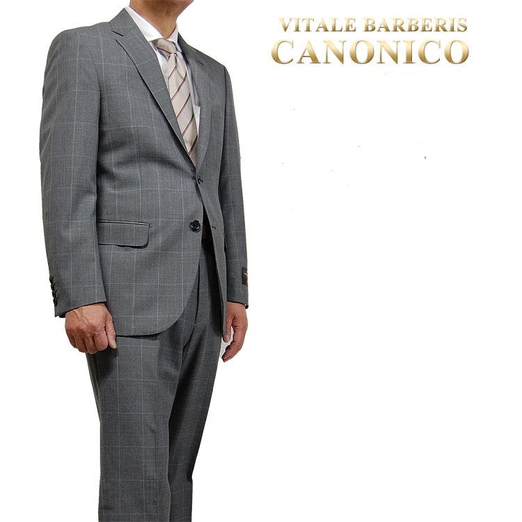 【送料無料】春夏物 CANONINO(カノニコ)スーツ メンズ セットアップシングル スーツ 2ボタン 17106134-34 A4・A5・AB5・AB6 薄グレーウィンドペン柄 上下セット