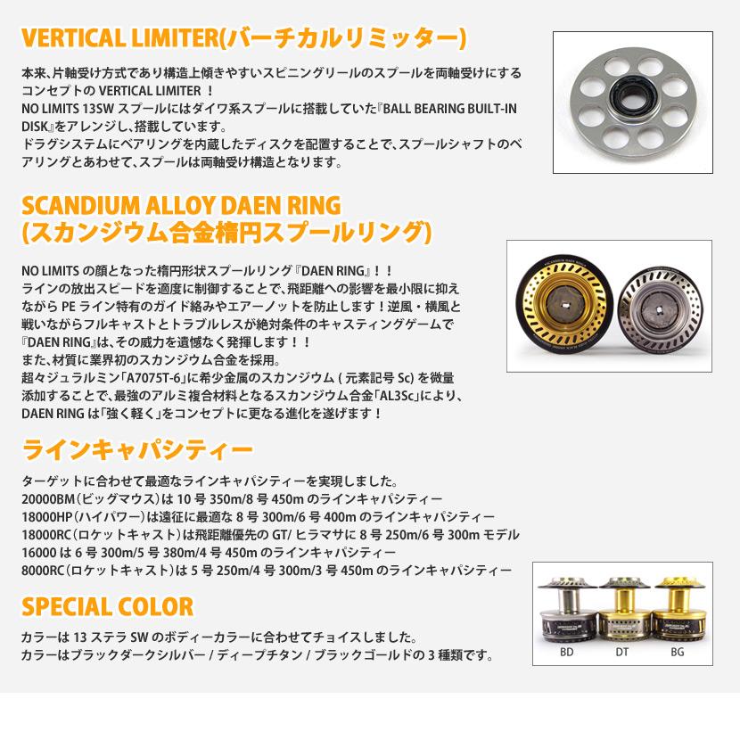STUDIO Ocean Mark NO LIMITS 13SW16000 custome parts spool Shimano supports Stella 13