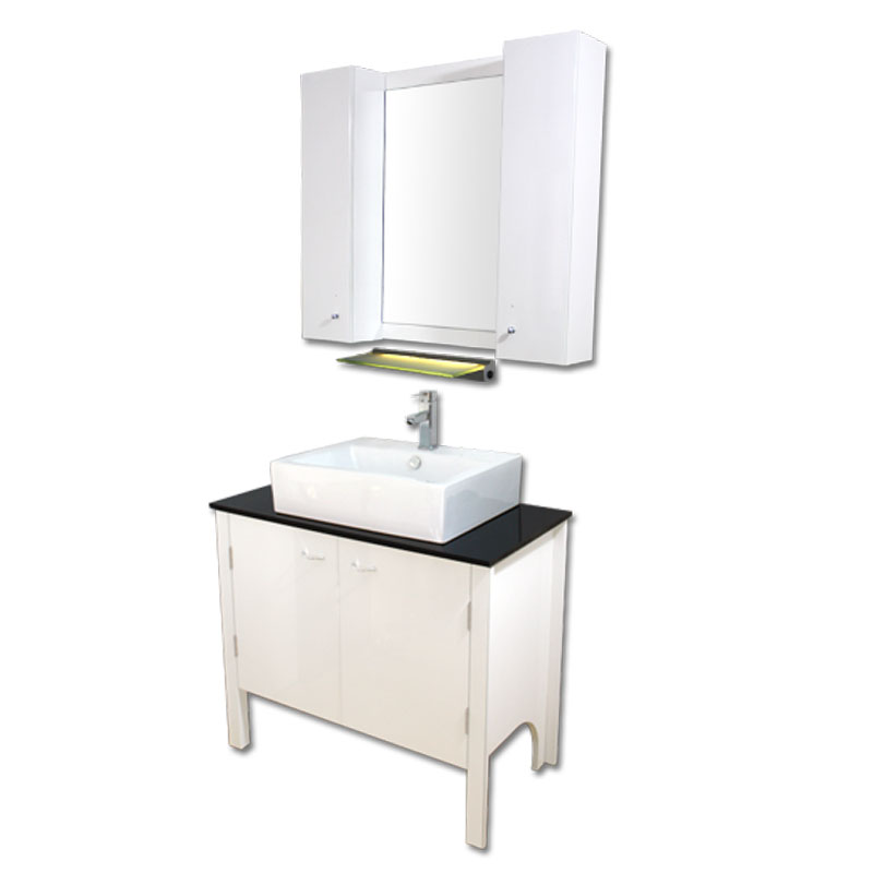 900mm幅白いピアノ塗装モダンスタイル洗面台と黒いガラスカウンターと洗面ボール水栓セットとミラーとサイドキャビネット Ambest WP949D 洗面ボウル/洗面化粧台/収納/洗面台/手洗い