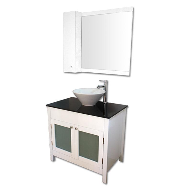 900mm幅白いピアノ塗装洗面台とガラスカウンターと洗面ボール水栓セットとミラーとサイド収納 Ambest WP959A 洗面ボウル/洗面化粧台/収納/洗面台/手洗い鉢