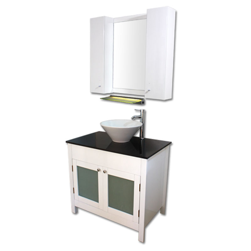 900mm幅白いピアノ塗装洗面台とガラスカウンターと洗面ボール水栓セットとミラーとサイド収納 Ambest WP959E 洗面ボウル/洗面化粧台/収納/洗面台/手洗い鉢