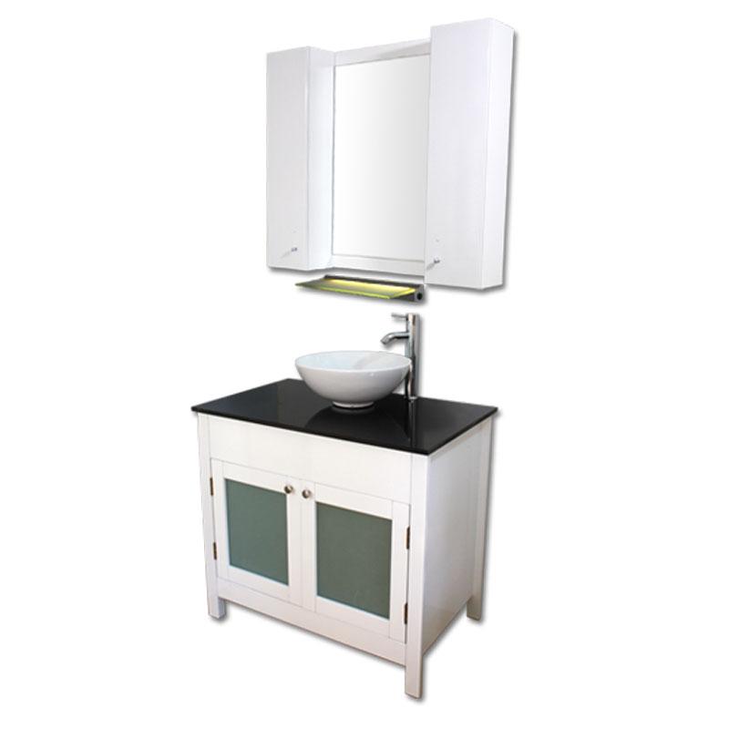 900mm幅白いピアノ塗装洗面台とガラスカウンターと洗面ボール水栓セットとミラーとサイド収納 Ambest WP959F 洗面ボウル/洗面化粧台/収納/洗面台/手洗い鉢