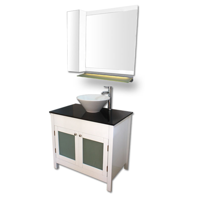 900mm幅白いピアノ塗装洗面台とガラスカウンターと洗面ボール水栓セットとミラーとサイド収納 Ambest WP959I 洗面ボウル/洗面化粧台/収納/洗面台/手洗い鉢