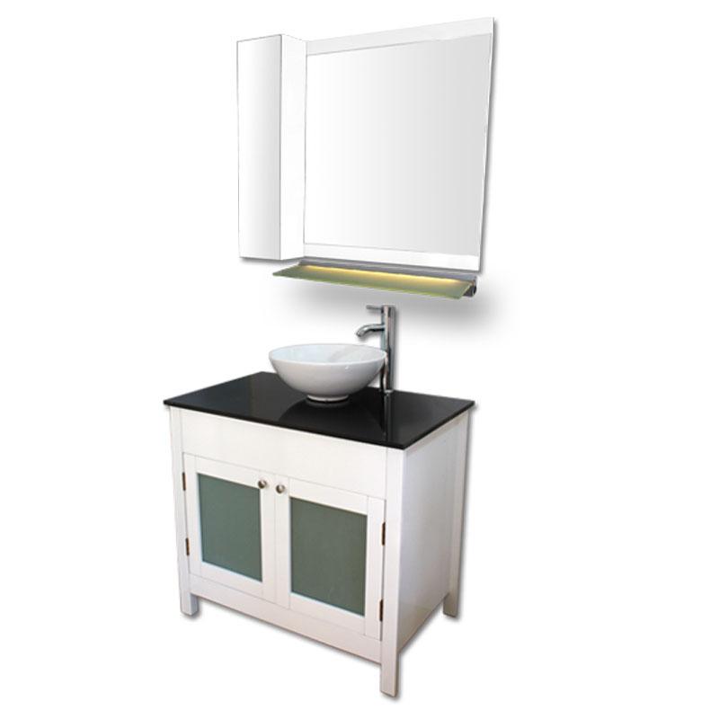 900mm幅白いピアノ塗装洗面台とガラスカウンターと洗面ボール水栓セットとミラーとサイド収納 Ambest WP959J 洗面ボウル/洗面化粧台/収納/洗面台/手洗い鉢
