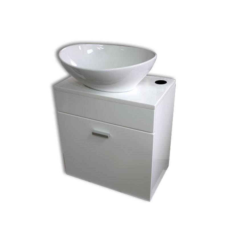 【送料無料】白陶器楕円形手洗器洗面ボウルと白壁掛けキャビネット Ambest WT35N1 手洗い鉢/洗面ボール/洗面シンク/収納/洗面台/新築/改築/建て替え/リフォーム/水まわり