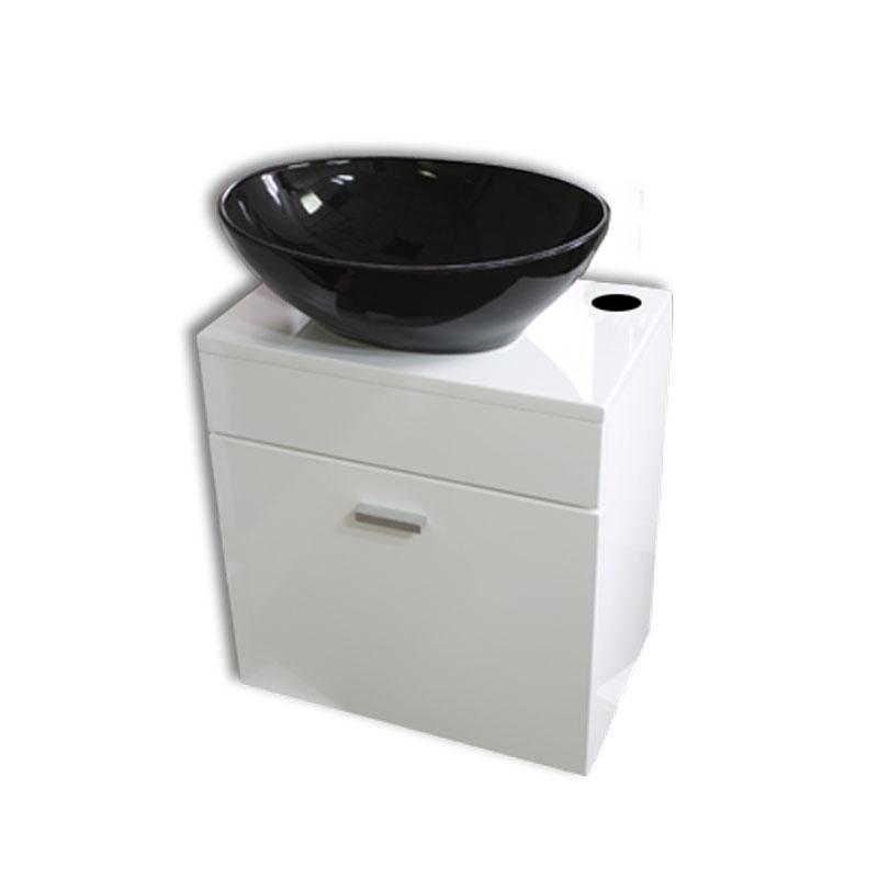 【送料無料】黒陶器楕円形手洗器洗面ボウルと白壁掛けキャビネット Ambest WT35N2 手洗い鉢/洗面ボール/洗面シンク/収納/洗面台/新築/改築/建て替え/リフォーム/水まわり