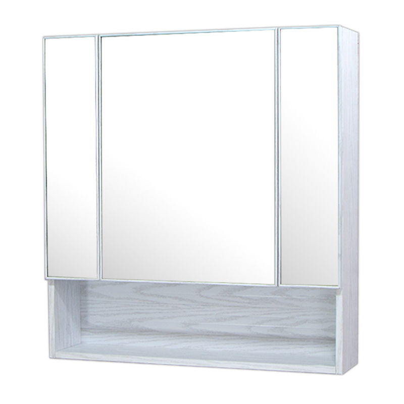 75x80cm白木目ミラー収納壁掛けキャビネット鏡化粧三面鏡 Ambest MQ7581 インテリアミラー 洗面所鏡 シンプルモダンミラー 浴室 トイレ ミラー鏡 壁掛け式 省スペース 木目 化粧鏡 壁掛け収納 防水 三面鏡
