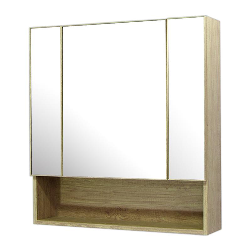 75x80cm木目調ミラー収納壁掛けキャビネット鏡ドレッサー鏡 Ambest MR7581 インテリアミラー 洗面所鏡 シンプルモダンミラー 浴室 トイレ ミラー鏡 壁掛け式 省スペース 木目 化粧鏡 壁掛け収納 防水 三面鏡
