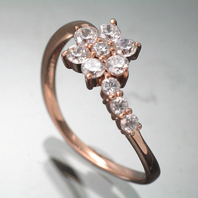 K18ピンクゴールドリング・天然ダイヤ0.5ct【ダイヤモンドリング】【送料無料】