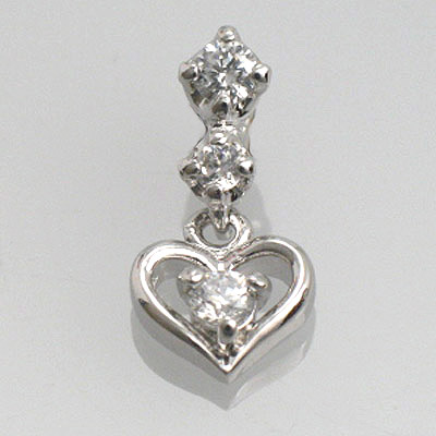 最新のデザイン K10WG天然ダイヤハートペンダント【ダイヤモンド】【ハートペンダント】, Pet goods shop ALCUORE 7d69a772