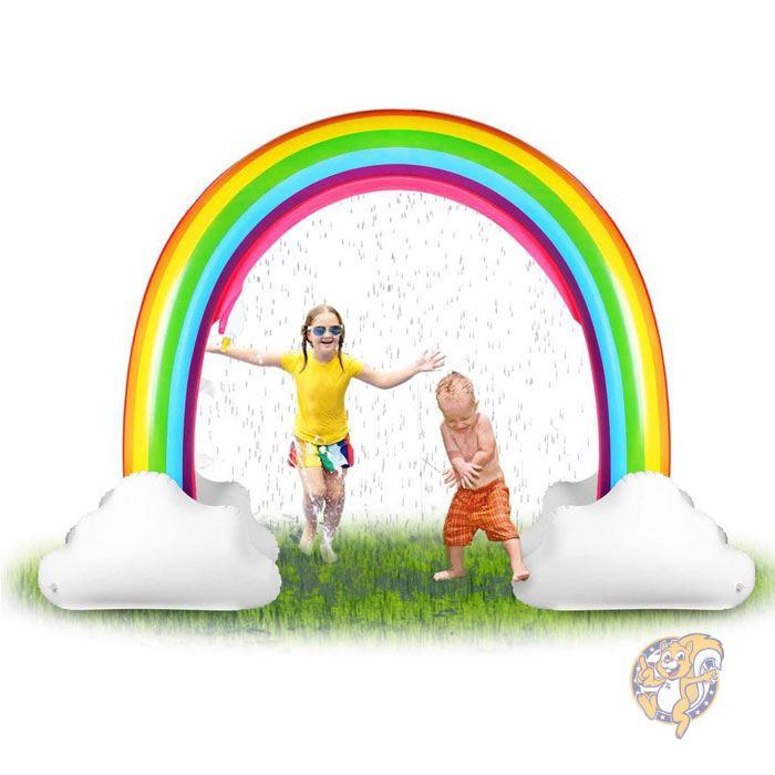 信憑 アメリカ発 お庭で水あそび ご家庭で楽しく水遊びができます 虹のスプリンクラー 予約 コンパクトに収納可能 水遊び インフレータブル レインボースプリンクラー HAPAH アメリカ輸入おもちゃ ビニールプール 家庭用プール 虹型スプリンクラー 噴水遊び 水あそび 庭遊び