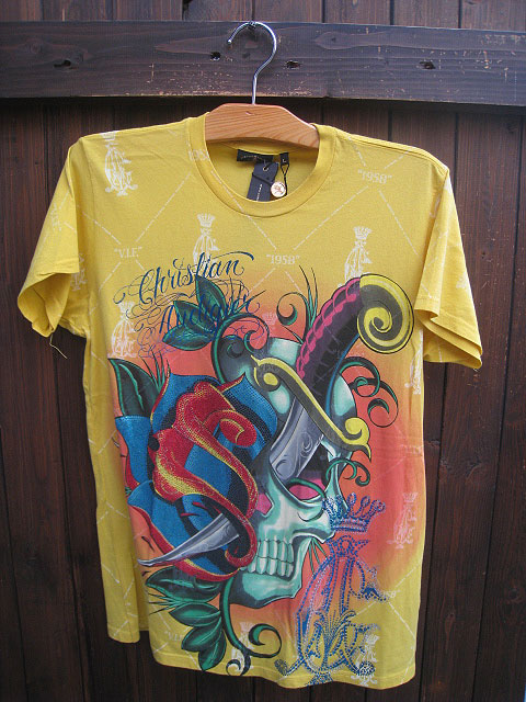 CHRISTIAN AUDIGIERクリスチャンオードジェーPLAT PIRATE SKULL Tシャツ yellow