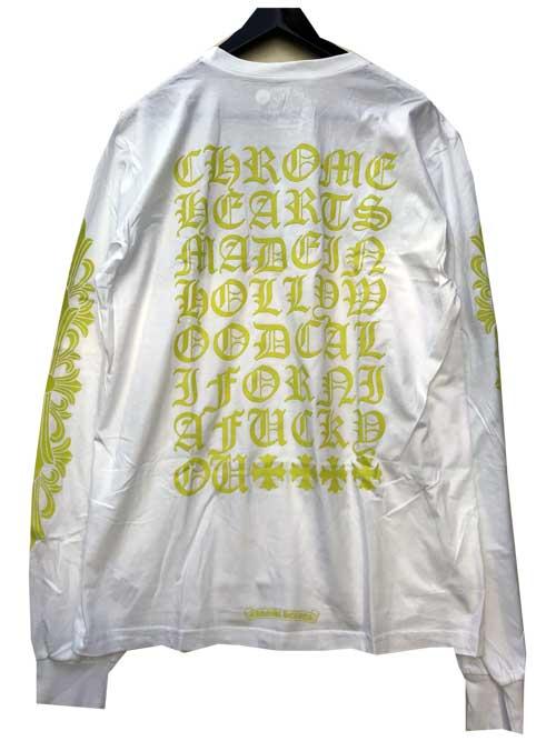 CHROME HEATRSクロムハーツイエローロゴロングスリーブTシャツwhite/neon yellow
