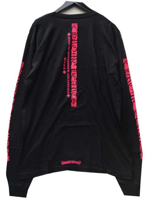 CHROME HEATRSクロムハーツ縦ロゴロングスリーブTシャツblack/pink