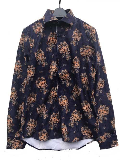 XLサイズまで KARL 百貨店 MOMMOOカールモンモーコーディロイペイズリーシャツnavy 現品