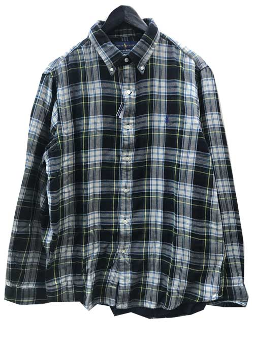 L,XLサイズPOLO RALPH LAUREN/ラルフローレンW-FACEボタンダウンチェックシャツ navy/green