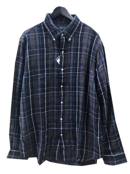 L,XLサイズPOLO RALPH LAUREN/ラルフローレンW-FACEボタンダウンチェックシャツ navy/grey