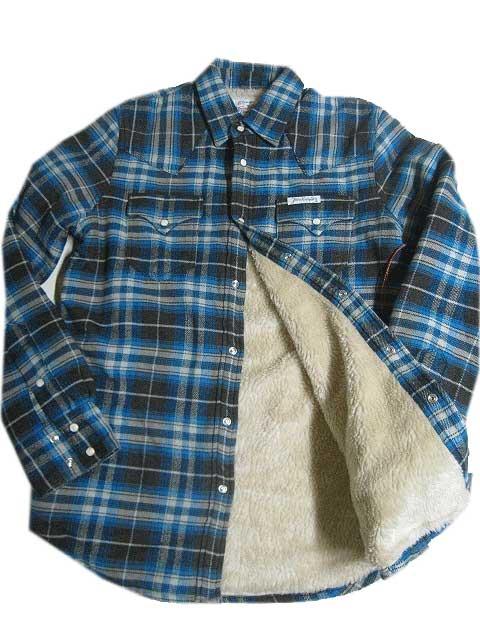 TRUE RELIGION/トゥルーレリジョンボア付きシャツジャケットblue