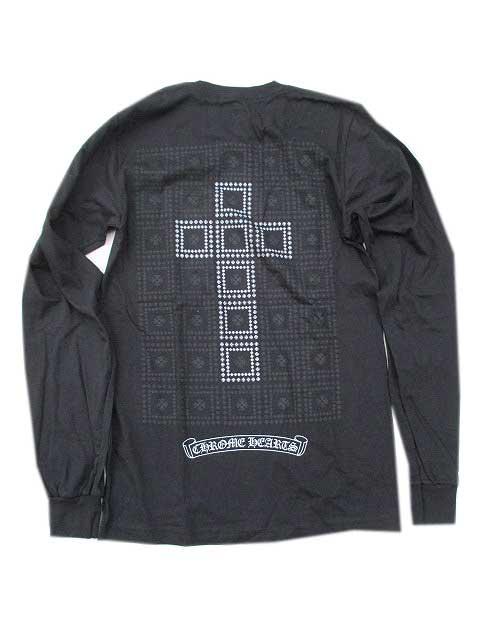 Sサイズのみになりました。CHROME HEARTSクロムハーツクロス箔プリント長袖Tシャツ ロングスリーブTシャツ black