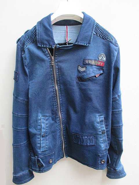 RON TOMSONロントムソン Patchwork Motorcycle Jacket blue denim