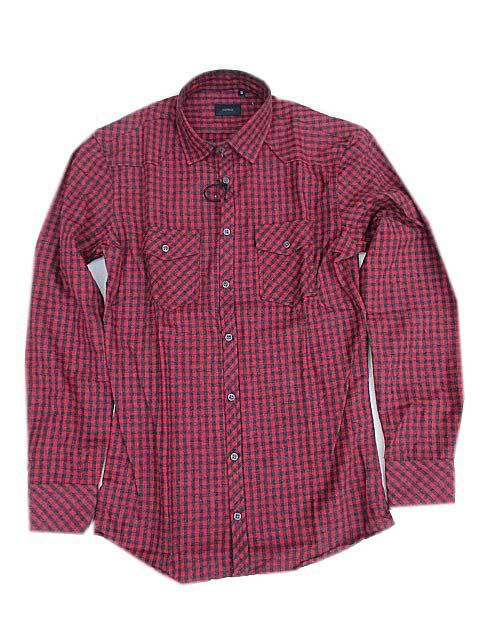 SSEINSEセンスフランネルチェックシャツ black/red