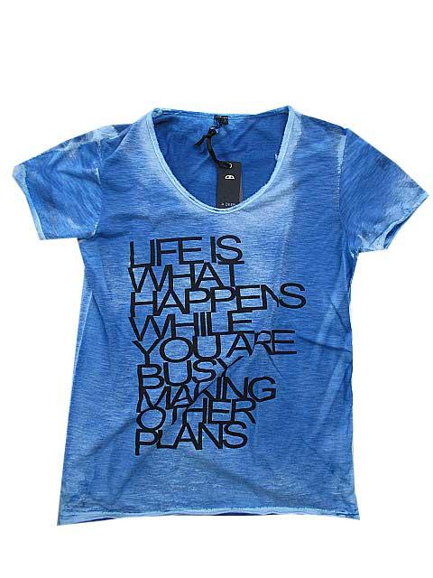 A DEEPエディブVネックTシャツシャツ blue