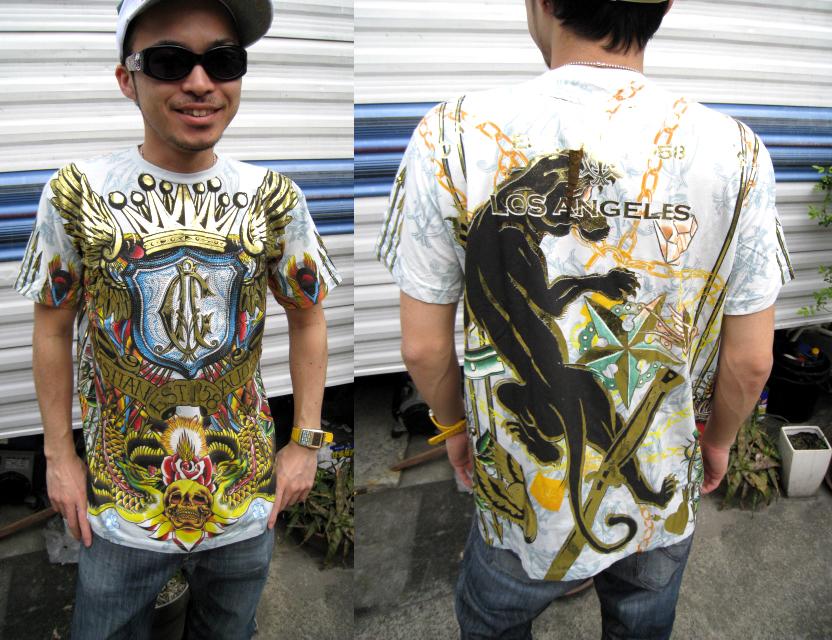 【クリスチャンオードジェー 】CHRISTIAN AUDIGIER ラインストーン S/S TEE [Light Blue]半袖 Tシャツ 送料無料