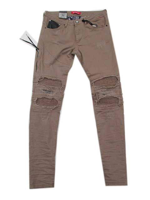 RON TOMSONロントムソンHeavy Distressed Ribbed Moto Biker Jeans beige