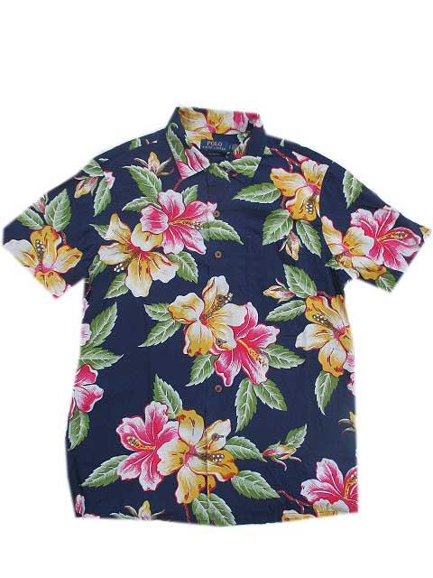 POLO RALPH LAUREN/ポロラルフローレン花柄アロハシャツnavy 半袖シャツ