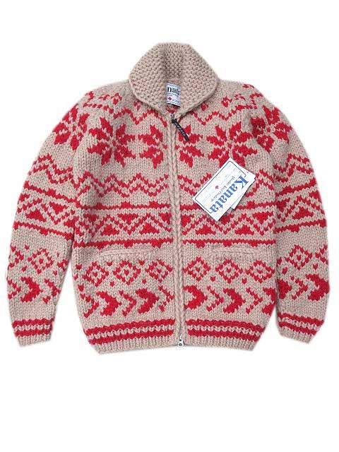 KANATAカナタカウチン 雪柄 ivory/red ジッパーモデルニット、セーター