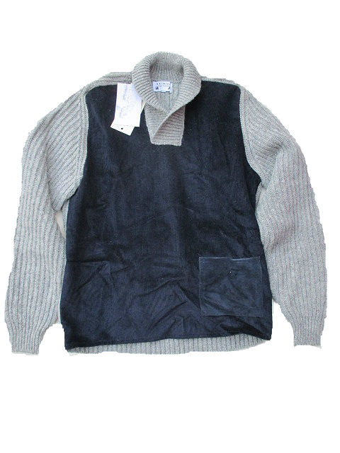 BRENIRE KNITWEAR[SILVER/NAVY]KINROSS PULL SHAWLブレニアニット送料無料