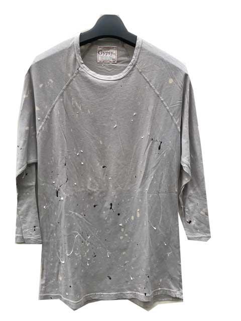 GYPSY05/ジプシー ペンキ加工7分丈Tシャツ grey