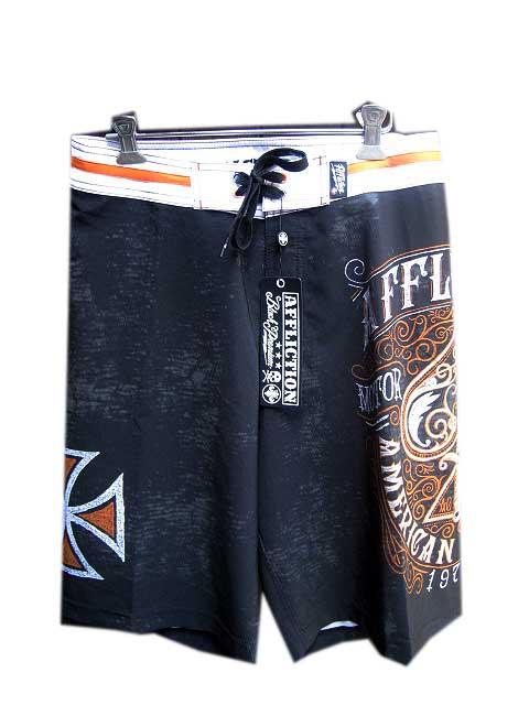 AFFLICTION/アフリクション海パン black/orange