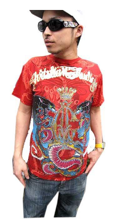 【クリスチャンオードジェー】CHRISTIAN AUDIGIER ラインストーン S/S TEE [RED]半袖 Tシャツ 送料無料