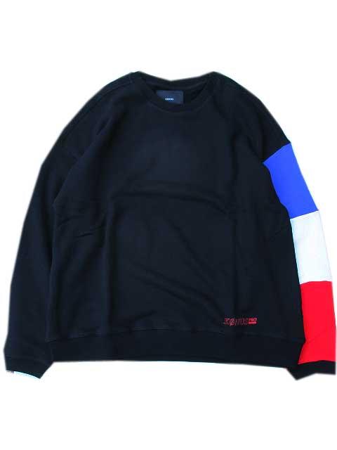 KONUS BRANDコーナスLS Sweatshirt w/ Blocked Sleeve black