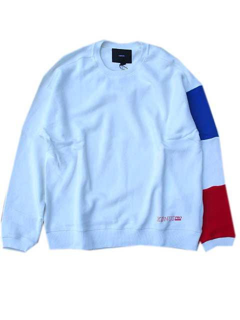 KONUS BRANDコーナスLS Sweatshirt w/ Blocked Sleeve white