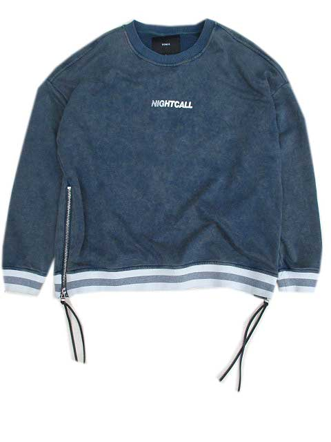 KONUS BRANDコーナスACID WASH ZIPPER CREW SWEAT blue