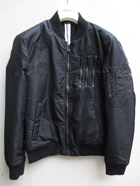 HAMAKI-HOハマキホボンバージャケット ジッパー、パッチデザイン black