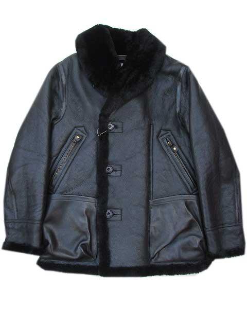 Y'2LEATHERワイツーレザーMOUTON AVITATION COAT black ムートン×HVホースレザージャケット